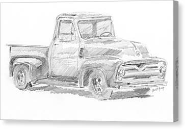 Old Trucks Canvas Print - 1955 Ford Pickup Sketch by David King
