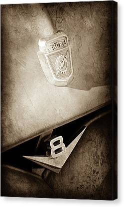 1955 Ford Pickup Truck Emblems -1020s Canvas Print by Jill Reger