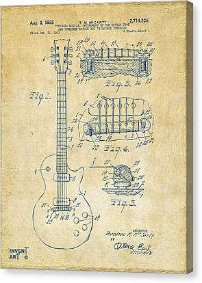 1955 Mccarty Gibson Les Paul Guitar Patent Artwork Vintage Canvas Print by Nikki Marie Smith