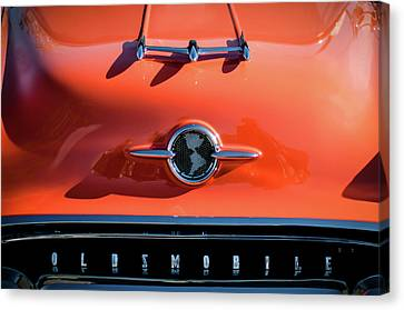 1955 Oldsmobile Rocket 88 Hood Ornament Canvas Print by Jill Reger