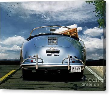 1955 Porsche, 356a, 1600 Speedster, Aquamarin Blue Metallic, Louis Vuitton Classic Steamer Trunk Canvas Print