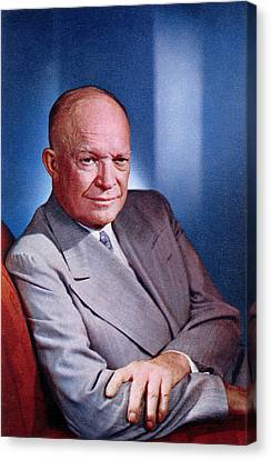 1955 President Dwight D Eisenhower Canvas Print by Historic Image