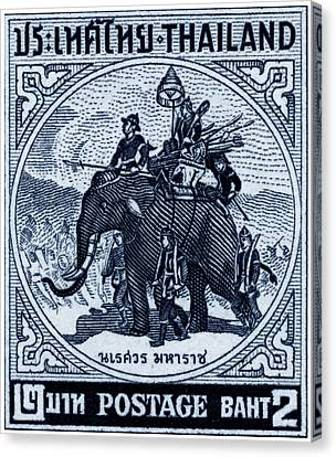 1955 Thailand War Elephant Stamp Canvas Print