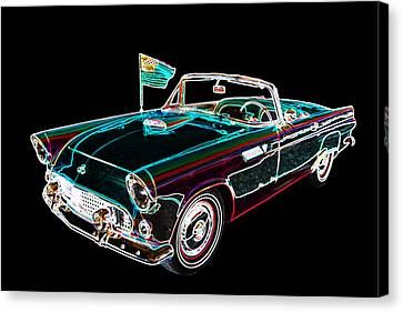 1955 Thunderbird Drawing Fine Art Prints 1273.02 Canvas Print by M K  Miller