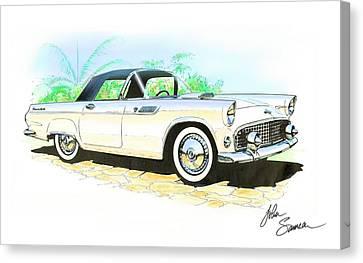 1955 Thunderbird Painting Canvas Print by John Samsen