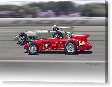 Canvas Print featuring the photograph 1956-57 Novi Replica Roadsters by Ed Dooley