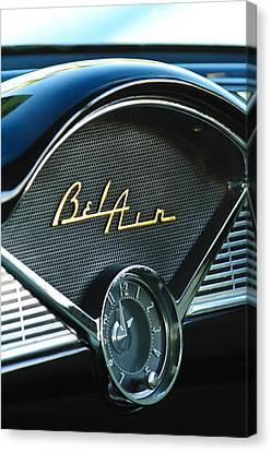 1956 Chevrolet Belair Dashboard Clock Canvas Print by Jill Reger