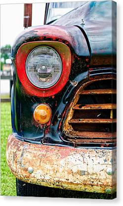Rusted Cars Canvas Print - 1956 Chevy 3200 Pickup Grill Detail by Jon Woodhams
