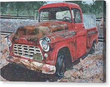 1956 Chevy Pickup Canvas Print by Les Katt