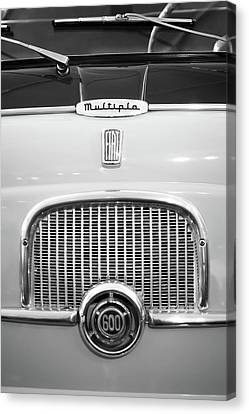 1956 Fiat 600 Multipla Grille Emblem -0133bw Canvas Print