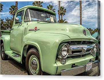 Canvas Print featuring the photograph 1956 Ford F-100 Pickup by Steve Benefiel