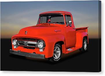 1956 Ford F100 Custom Cab  -  1956f100ford9822 Canvas Print
