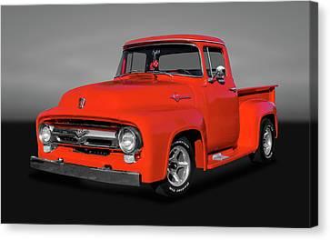 1956 Ford F100 Custom Cab  -  56fordf100gry9822 Canvas Print