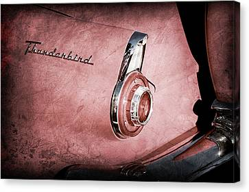 Canvas Print featuring the photograph 1956 Ford Thunderbird Convertible Taillight Emblem -0361ac by Jill Reger