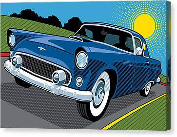 Canvas Print featuring the digital art 1956 Ford Thunderbird Sunday Cruise by Ron Magnes