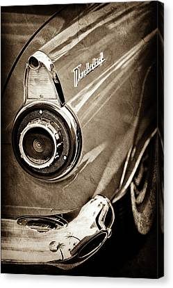 Canvas Print featuring the photograph 1956 Ford Thunderbird Taillight Emblem -0382s by Jill Reger
