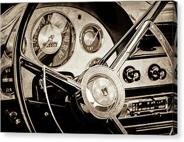 Canvas Print featuring the photograph 1956 Ford Victoria Steering Wheel -0461s by Jill Reger