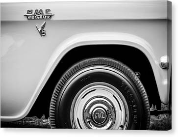 1956 Gmc 100 Deluxe Edition Pickup Truck  Side And Wheel Emblems -1498bw Canvas Print by Jill Reger