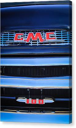 Gmc Canvas Print - 1956 Gmc Suburban Pickup Grille Emblem -0194c1 by Jill Reger