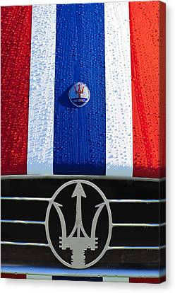 1956 Maserati 350 S Hood Ornament Emblem 3 Canvas Print by Jill Reger