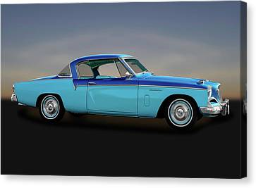 Canvas Print featuring the photograph 1956 Studebaker Sky Hawk Coupe  -  1956studebakerskyhawk170517 by Frank J Benz
