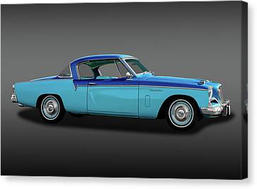 Canvas Print featuring the photograph 1956 Studebaker Sky Hawk Coupe  -  1956studebakerskyhawkfa170517 by Frank J Benz
