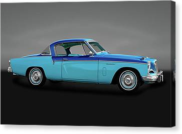 Canvas Print featuring the photograph 1956 Studebaker Sky Hawk Coupe  -  1956studebakerskyhawkgry170517 by Frank J Benz