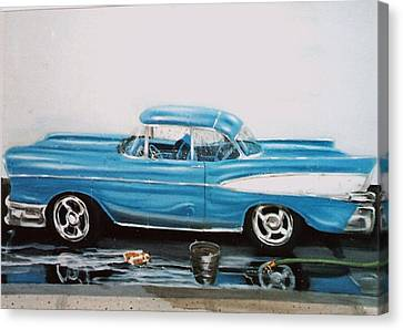 Canvas Print featuring the painting 1957 Bel Air by Susan Roberts