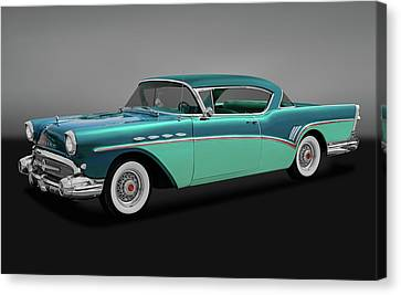 Canvas Print featuring the photograph 1957 Buick Super Riviera 2 Door Hardtop  -  1957buicksuperrivieragry170431 by Frank J Benz