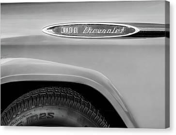 1957 Chevrolet 3100 Truck Emblem -0079bw Canvas Print