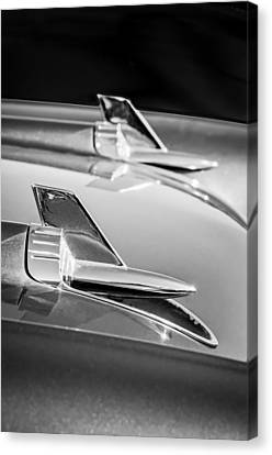 White Chevy Canvas Print - 1957 Chevrolet Bel Air Hood Ornaments -114bw by Jill Reger