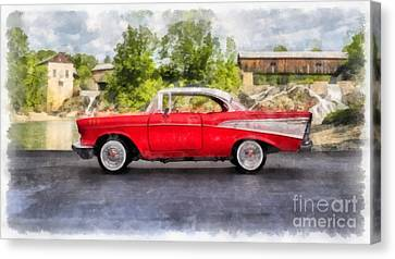 57 Chevy Canvas Print - 1957 Chevrolet Bel Air Watercolor by Edward Fielding