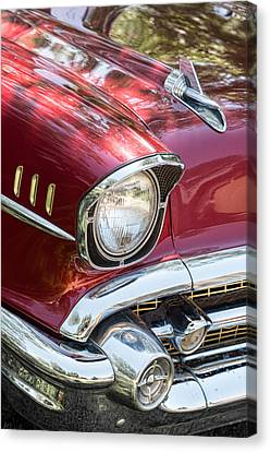 Antique Automobiles Canvas Print - 1957 Chevrolet Burgundy Bel Air Headlight Portrait by James BO  Insogna