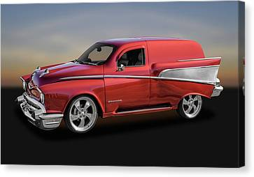 1957 Chevrolet Custom Delivery Wagon  -  57chcuswag9634 Canvas Print by Frank J Benz