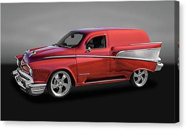 1957 Chevrolet Custom Delivery Wagon  -  57cuschgry9634 Canvas Print by Frank J Benz