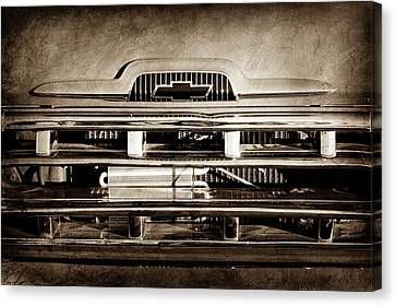 Chevrolet Pickup Truck Canvas Print - 1957 Chevrolet Pickup Truck Grille Emblem -0324s by Jill Reger