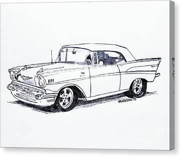 1957 Chevy Bel Air - Graphite Pencil Canvas Print by Scott D Van Osdol