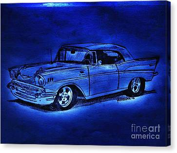 1957 Chevy Bel Air - Moonlight Cruisin  Canvas Print by Scott D Van Osdol