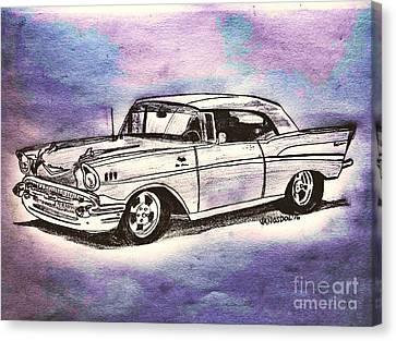 1957 Chevy Bel Air - Purple Abstract Canvas Print by Scott D Van Osdol