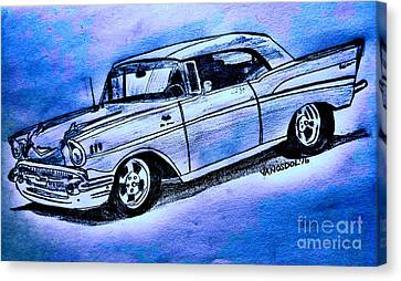 1957 Chevy Bel Air Sport Coupe - Blue Abstract Canvas Print by Scott D Van Osdol