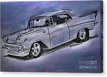 1957 Chevy Bel Air Sport Coupe - Silver Fox  Canvas Print by Scott D Van Osdol