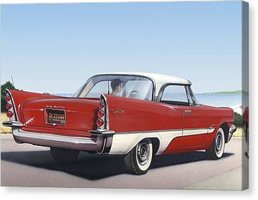 1957 De Soto Car Nostalgic Rustic Americana Antique Car Painting Red  Canvas Print by Walt Curlee