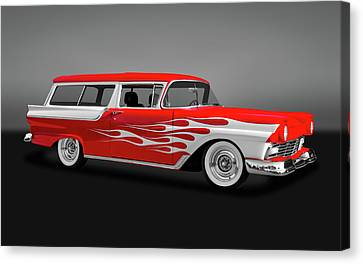 1957 Ford 2 Door Ranch Wagon  -  1957fdrchwaggry0064 Canvas Print by Frank J Benz