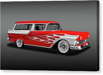 1957 Ford 2 Door Ranch Wagon  -  1957fordranchwagfa0064 Canvas Print by Frank J Benz