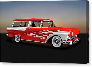 1957 Ford 2 Door Ranch Wagon  -  1957fordranchwagon0064 Canvas Print by Frank J Benz