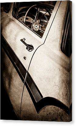1957 Ford Custom 300 Series Ranchero Steering Wheel -0549s Canvas Print by Jill Reger