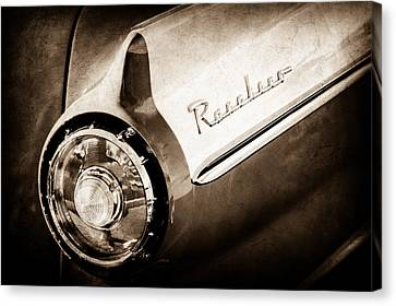 1957 Ford Custom 300 Series Ranchero Tail Light Emblem -1090s Canvas Print by Jill Reger