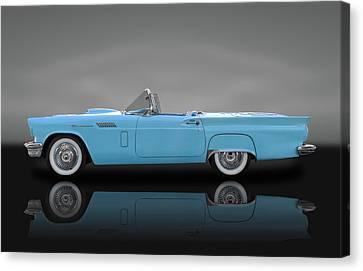 1957 Ford Thunderbird  -  57fdtbirdbw010 Canvas Print by Frank J Benz