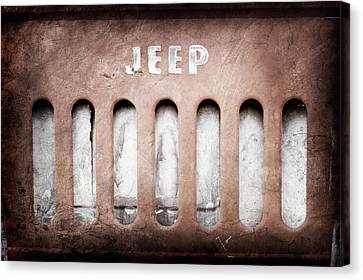 Canvas Print featuring the photograph 1957 Jeep Emblem -0597ac by Jill Reger