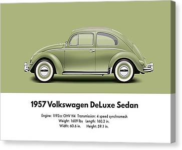 Profile Canvas Print - 1957 Volkswagen Deluxe Sedan - Diamond Green by Ed Jackson